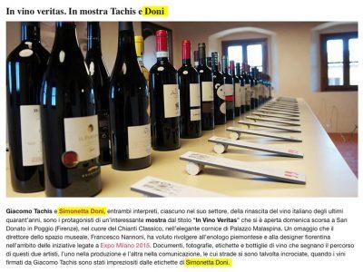 """Mostra """"In Vino Veritas"""", il mondo del vino visto da Simonetta Doni e Giacomo Tachis"""
