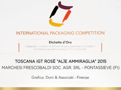 International Packaging Competition 2016 – Doni & Associati vince l'Etichetta d'Oro per Ammiraglia Frescobaldi