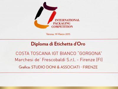 International Packaging Competition 2015 – Doni & Associati vince l'Etichetta d'Oro per GORGONA di Frescobaldi