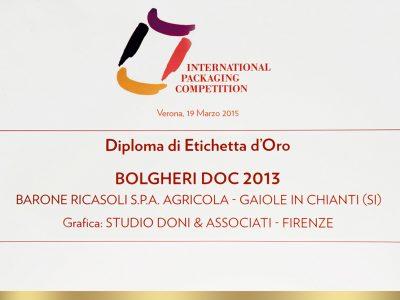 International Packaging Competition 2015 – Doni & Associati vince l'Etichetta d'Oro per Barone Ricasoli